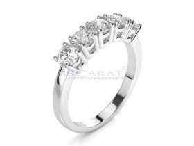 Bague or blanc 5 diamants 1ct