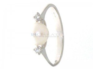 Bague en or, perle de culture et diamants 0.06ct