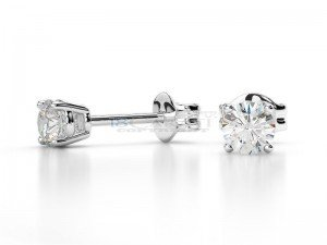 Boucles doreilles puce diamants Or blanc 0,3ct
