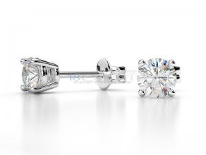 Boucles doreilles puce diamants Or blanc 0,5ct