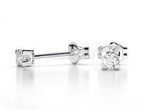 Boucles doreilles puce diamants Or blanc 0.08ct