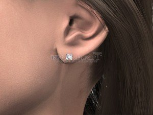 Boucles d'oreilles puce diamants Or blanc 0.12ct