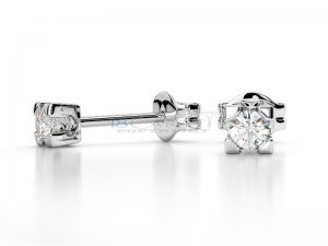 Boucles doreilles puce diamants Or blanc 0.12ct