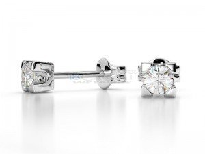Boucles doreilles puce diamants Or blanc 0.2ct