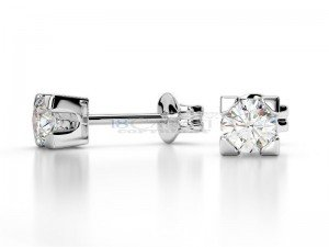 Boucles doreilles puce diamants Or blanc 0.3ct