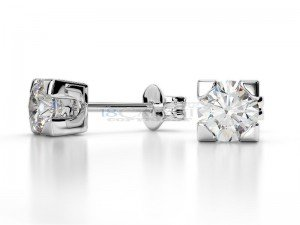 Boucles doreilles puce diamants Or blanc 0.5ct