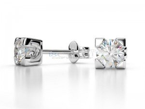 Boucles doreilles puce diamants Or blanc 0.6ct