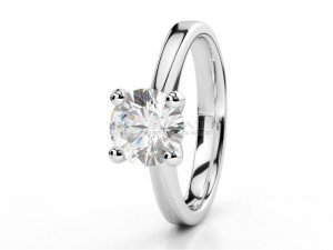 Solitaire setting 4 prongs white gold